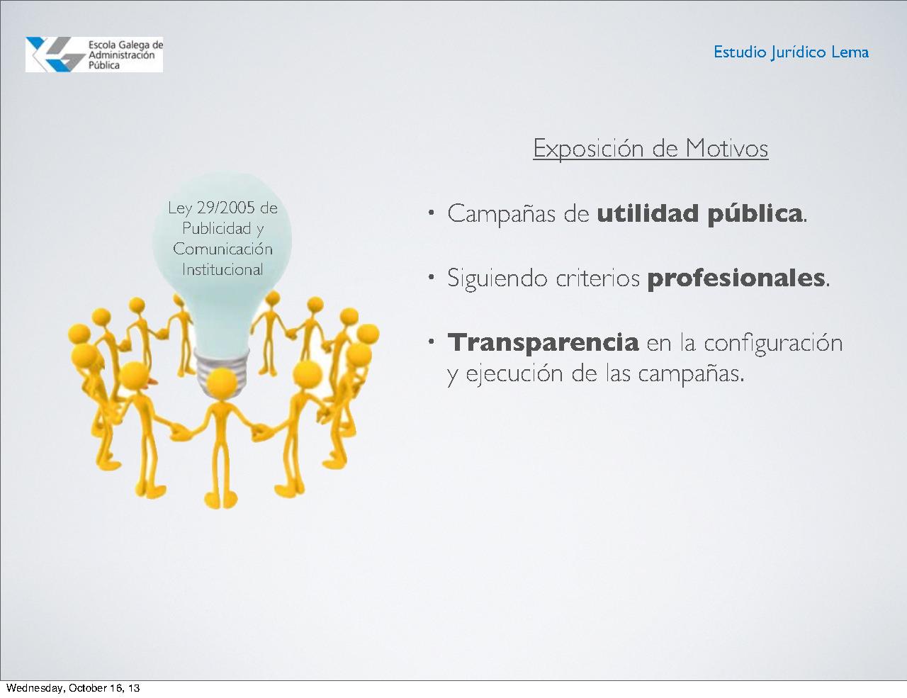 As disposicións xerais da Lei de publicidade institucional